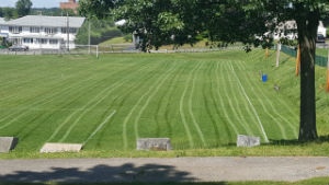 This Is A Photo Of An Athletic Field After Being Mowed