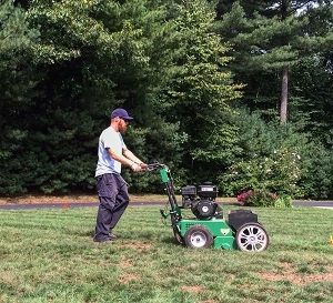this is a photo of a bearded man mowing a lawn, lawn renovation, western ma